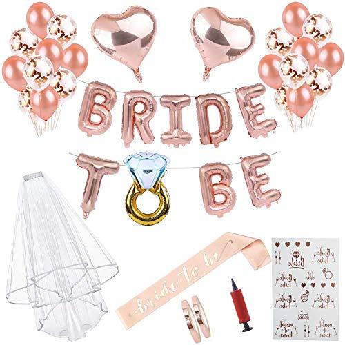 Braut to Be Deko Accessoires für den Junggesellinnenabschied,Luftballons+Banner+Schärpe+weißer Schleier mit Kamm+21 Tattoos für JGA Deko für Team Braut's JGA-Party (Rose Gold, Luftballons)