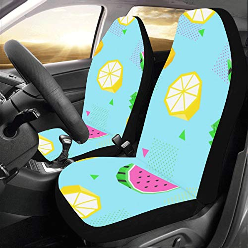 Rtosd Bright Summer Tropical Fruit Custom New Universal Fit Auto Drive Car Seat Covers Protector for Women Automobile Jeep Truck SUV Vehicle Full Set Accessories for Adult Baby (Set of 2 Front)