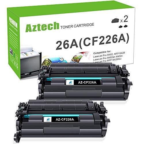 Aztech Compatible Toner Cartridge Replacement for HP 26A CF226A 26X CF226X Laserjet Pro M402dn M402n M402dw Laserjet Pro MFP M426fdw M426fdn M426dw Printer (Black 2-Pack)