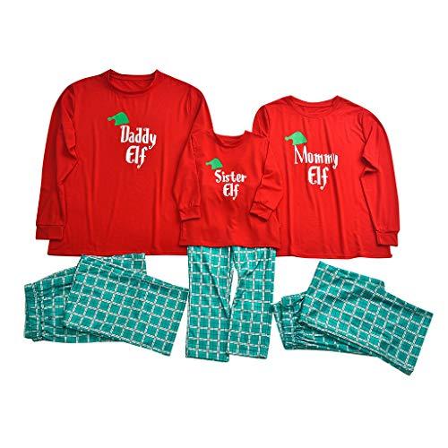 Mambain Costume Natale Famiglia,Pigiama Natale Famiglia Due Pezzi Pantaloni A Quadri + Maglietta Manica Lungo con Scritte Elf Tuta Set Abbigliamento Natale Famiglia(Bambini,6-7 Anni)