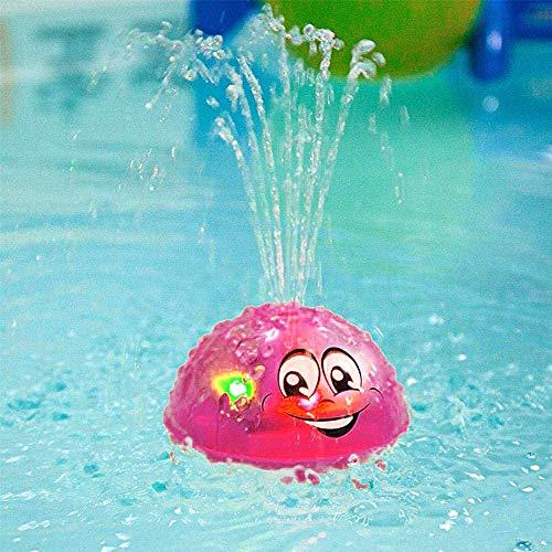Schwimmende Badespielzeug Mit Licht, Kraeoke Kinderbad Wasserball Badespielzeug Mit Licht Für Badewanne Dusche-Pool Badezimmer Kleinkinder Party (Rot)