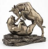 Veronese Design 6 Inch Wall Street Stock Market Bull Bear Fight Financial Broker Gift Abstract Bronze Finish Tabletop Statue