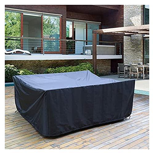 AWSAD Funda Mesa Jardin, Funda Sillas Jardin, para Muebles De Exterior e Interior, Impermeable A Prueba De Polvo, 43 Tamaños (Color : Negro, Size : 325x205x58cm)