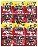 Gillette Blue3 Nitro Jednorazowa maszynka do golenia dla mężczyzn, 6 x 6 sztuk