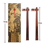 UNIFONE Essstäbchen, wiederverwendbar, chinesischer Stil, Holzdrache und Phönix, Essstäbchen, mit Halter und Tragetasche, chinesisches Geschenk-Set (2 Paar) - 4