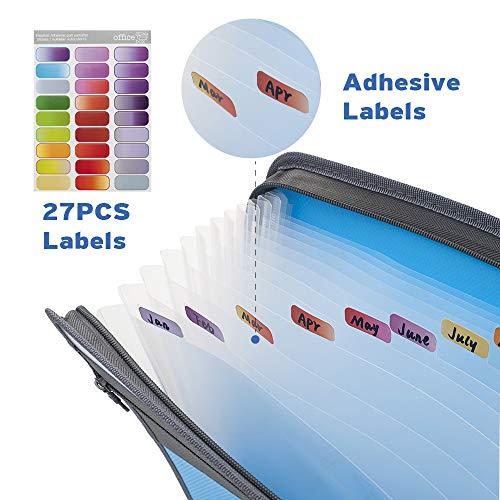 Sooez Expanding File Folder with Sticky Labels, 13 Pocket Accordion File Folder Document Organizer Expanding Zip File Folder with Zipper Closure, Letter A4 Paper Document Accordion Folder, Blue Photo #6