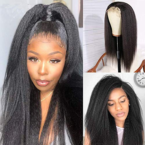 mmmy Ladies Wig, 4x4 Lace Closure Wig Yaki Straight Human Hair Wig Free Part 130 Density With Baby Hair Glueless Brazilian Kinky Straight Real Remy Hair Wigs 18 Inch