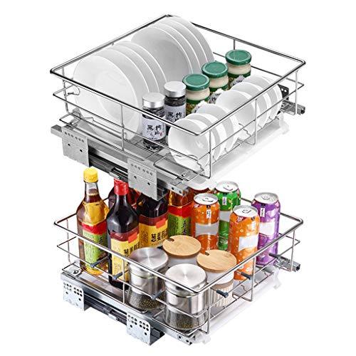 Cupboard Organizers Yxx@ Cesto extraíble de Rejilla metálica para Mueble de Cocina Armario extraíble de Cocina Cocina Estante Cesto Extraíbles Cajón