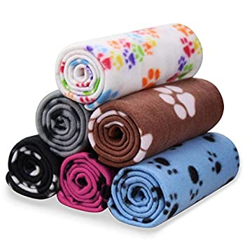 Comsmart Pet Blanket Dog Cat Soft Fleece Blankets Sleep Mat Pad Bed Cover with Paw Print for Kitten Puppy and Other Small Animals 6 Pack of 24x28 Inches