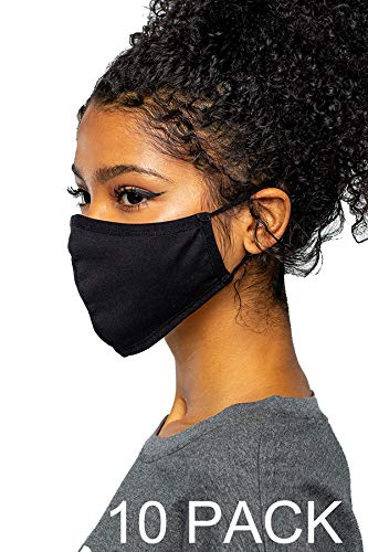Econo-High - Washable Reusable Black Cotton Face Mask Fabric Cloth Double Layer- Youth Teen Size Or For Small Face - Prewash- 10 PACK!