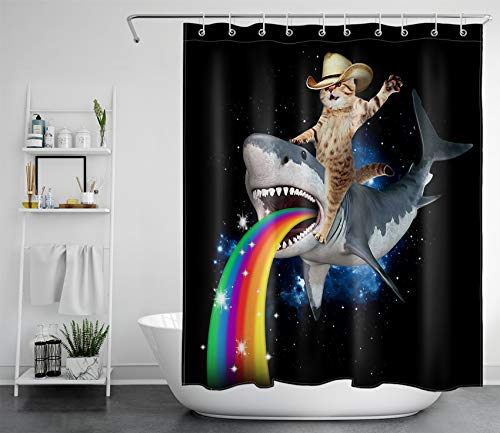 HVEST Funny Cat Cowboy Shower Curtain for Kids Bathroom Cute Cat Ride on Shark Rainbow Galaxy Starry Sky Funny Animal Bathroom Decor Waterproof Polyester Fabric 60x72 Inches with 10 Hooks…