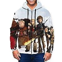 男性パーカーHow to Train Your Dragon Hoodie Men Pullover Hoodies Zipper Winter Casual Sweater Tops,XL