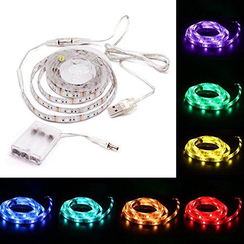 Batería alimentada por USB 1M SMD5050 60 LED RGB Luz de tira flexible impermeable Luz de retroiluminación de TV ILFYJRHD