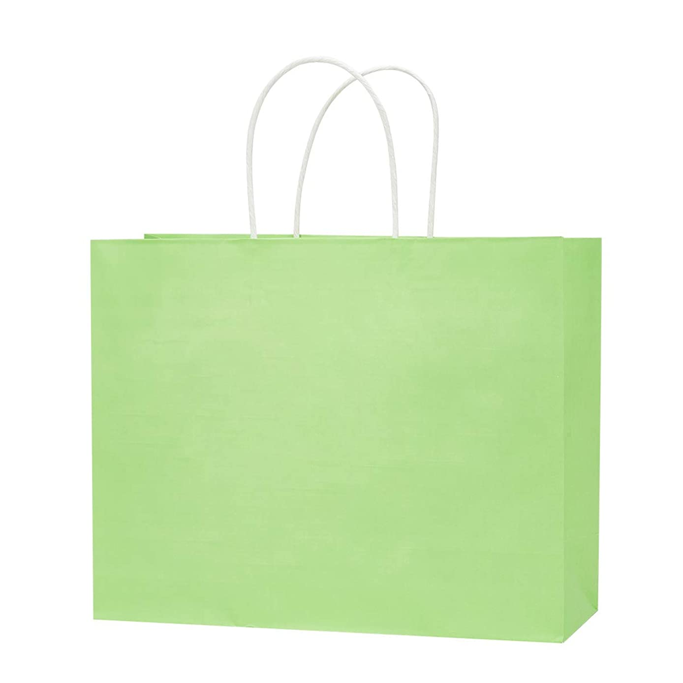 "12.6""x4.3""x9.85"" White Kraft Paper Shopping Bags, Colorful Gift,Party, Wedding, Merchandise, Carry, Retail, Restaurant takeouts,Paper Bags 50pcs/ 100pcs (Apple Green, 50 PCS)"