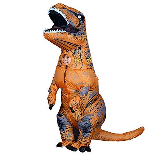 Aufblasbares T-Rex-Kostüm für Kinder, Dinosaurier-Outfit, lustiges Halloween-Kostüm, Anzug (braun)