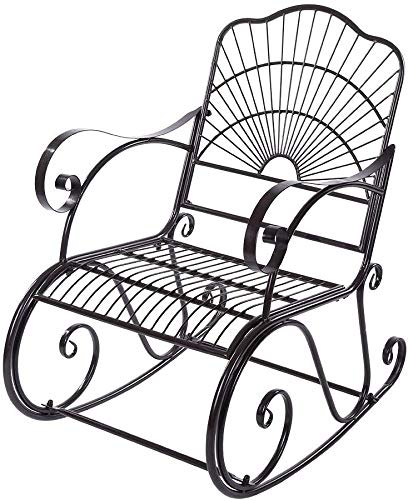 Greensen Rocking Chair Iron Garden Chair with Armrests Relaxing Chair Metal Chair Vintage Design Iron Chair Swing Chair with High Back Rest for Home Living Room Balcony Garden Outdoor Patio