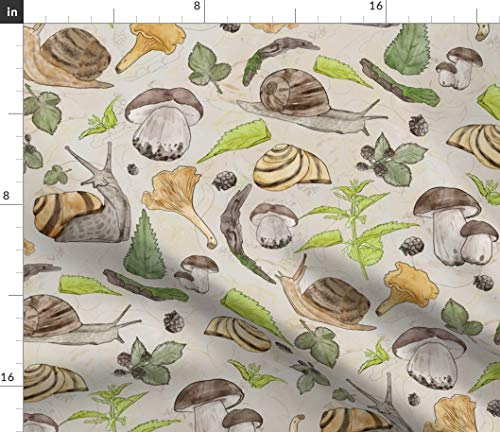 Spoonflower Fabric - Woodland Garden Mushroom Forest Logs BlackBerry Leaves Snail Printed on Petal Signature Cotton Fabric by The Yard - Sewing Quilting Apparel Crafts Decor