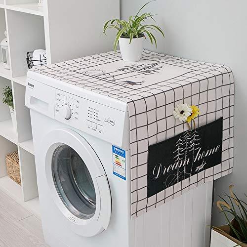 JIAMIN Staubschutz für Waschmaschine mit Gittermuster, bedruckt, für Mikrowelle, Kühlschrank, mit Tasche, Möbeltuch
