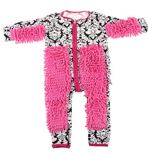 FLAMEER Lustiger Baby Kleidung Wischmop wischen Boden Strampler Overall Jumpsuit zum Krabbeln - Schwarz + weiße Blume, 85 cm