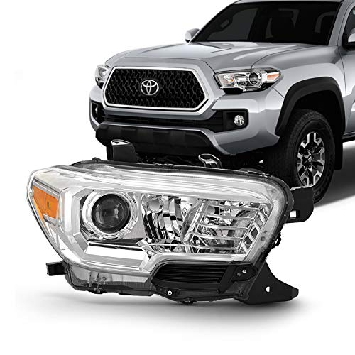 Passenger Right Side Headlamp Fits 2016-2021 Toyota Tacoma w/o LED DRL Chrome Headlight [Halogen Models]