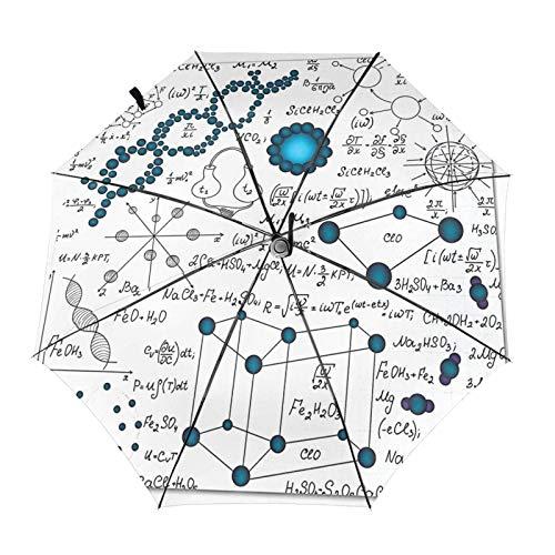 DNA 抽象科学 数式 化学元素 傘 折りたたみ傘 ワンタッチ 自動開閉 8本傘骨 防風雨傘 軽量 防水トラベル傘 台風対応 梅雨対策 折り畳み傘 超撥水 おりたたみ傘 晴雨兼用 メンズ レディース