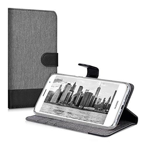 kwmobile Huawei Nova Plus Hülle - Kunstleder Wallet Case für Huawei Nova Plus mit Kartenfächern und Stand - Grau Schwarz - 5