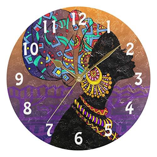 Lihuaval Tradition - Reloj de pared redondo con diseño de mujer africana, silencioso, no hace tictac, para decoración del hogar, sala de estar, cocina, oficina, dormitorio, oro, 25 x 0,5 cm