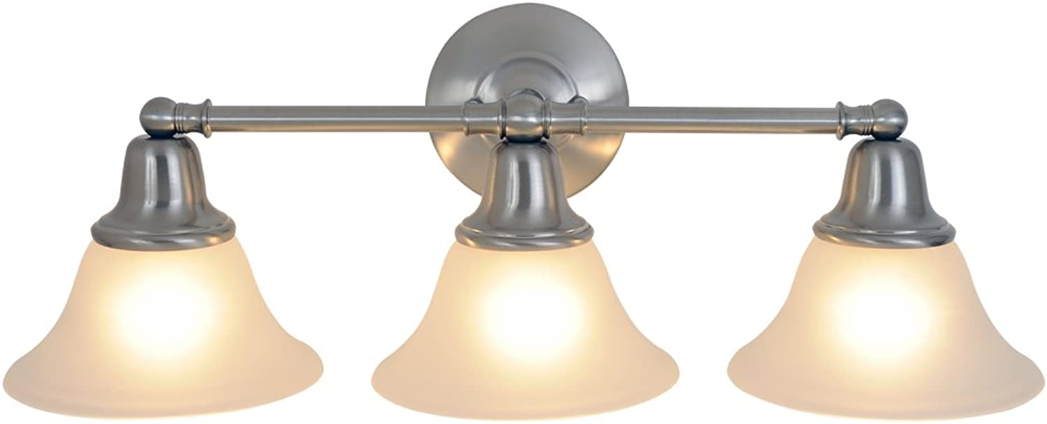 Monument 617220 24-1 2-Inch W by 9-1 4-Inch H by 8-3 8-Inch Proj. Sonoma Lighting Collection 3 Light Vanity, Brushed Nickel