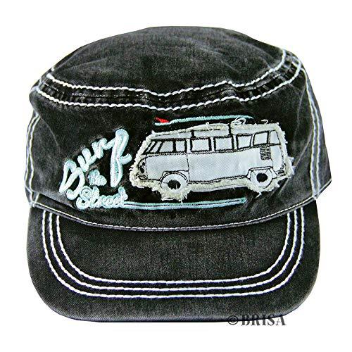 Brisa VW Collection - Volkswagen Furgoneta Hippie Bus T1 Van Gorra de Béisbol Vintage de Algodón, Baseball Cap Ajustable, Sombrero Militar para Hombre y Mujer, Deporte/Idea de Regalo (Surf/Negro)