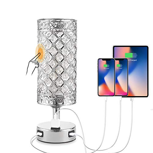 Deamakk Touch Control Crystal Table Lamp, 3-Way Dimmable Bedside Table Lamps with 2 USB Charging Ports and AC Outlet, Modern Nightstand Lamp with Crystal Shade for Bedroom, Office. ( Bulb Included )