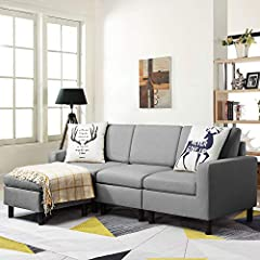 【Reversible sectional sofa】:The reversible sofa can be spliced freely. You can place the ottoman to form left chaise, right chaise or centered chaise. This sofa comes in 3 packages, easy to install, compact and light. The space saving couch is perfec...