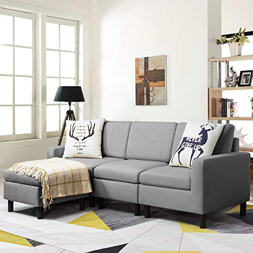 Pretzi Convertible Sectional Small Sofa with Reversible Chaise, L-Shape 3-Seater Sofa Couch with Modern Linen Fabric, Living Room Indoor Sleeper with Ottoman Set for Small Space (Light Grey)