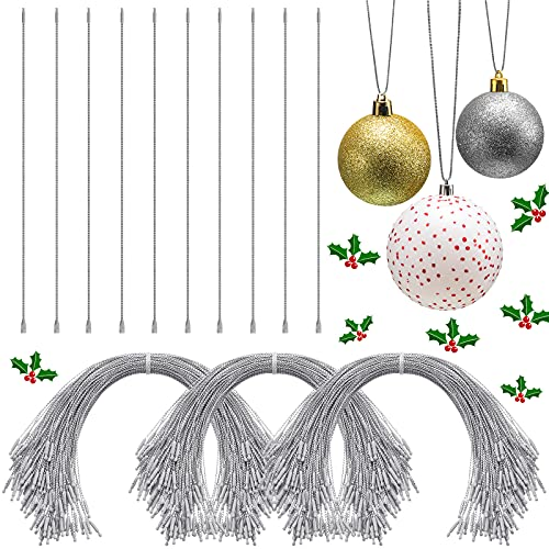 200 Pcs Christmas Ornament String with Snap Fastener Christmas Ornament Precut String Hangers Hanging Ropes Hang Tag Ropes Clothing Price Tag for Christmas Tree Christmas Party Hanging Decor (Silver)