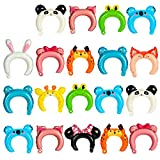 50 Pack Headband Balloons Animal Inflatable Headband Hair Band Cute Cartoon Foil Balloon Forest Mylar Balloon for Party Decoration Costumes Favors