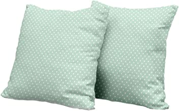 All of better Pillowcase Green,Retro Style Baby Nursery Themed Pattern with Little White Polka Dots Pastel,Mint Green White Square Euro Sham Cushion Cover 18x18 INCH 2pcs