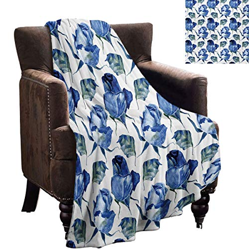 Acuarela Home Dormitorio manta dibujada a mano rosas y hojas abstractas flores floreciendo naturaleza tema regalos de novia a mujeres 90 x 70 pulgadas violeta azul pizarra azul