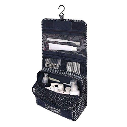 Contever® Portatile Pieghevole Sacchetto Lavata Hanging Cosmetic Borsa da Toilette Borsetta da Viaggio Cosmetico Wash Bag per le Donne la Signora Girl - Blu Scuro