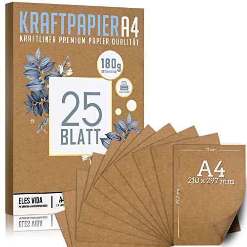 Premium Papel de Estraza DIN A4 de 180 g – 21 x 29,7 cm - Papel de manualidades, cartón natural, hojas de cartón, papel de cartón vintage para boda, regalos y etiquetas (25 hojas)
