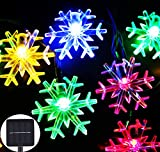 Inngree Solar Christmas String Lights 20 ft 30 LED 8 Modes Solar Snowflake Outdoor Waterproof Powered Fairy String Lights For Home Garden Parties Patio Yard Christmas Tree Decorations (1Pack,Multicolo