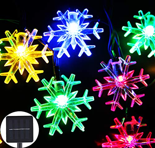 Inngree Solar Christmas String Lights 20 ft 30 LED 8 Modes Solar Snowflake...