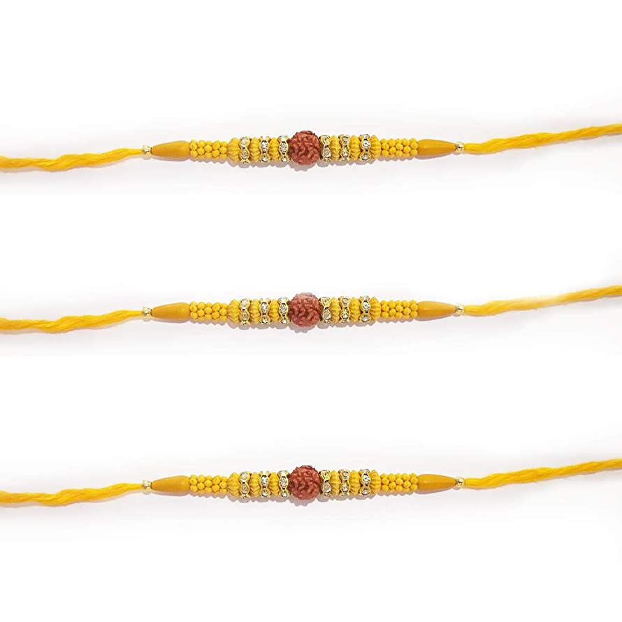 NYGT Set of 3 Rakhi for Brother Rudraksha Ring Stone Beds Multicolor Thread Mauli Bracelet Friendship Band for Festive Pooja Raksha bandan Bhai/Bhaiya/Bro Sister Wristbands Handmade for Men and Boys