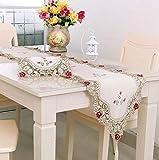 刺繍レーステーブルランナーエレガントなヴィンテージテーブルランナー ドレッサースカーブキャビネットダイニングルームテーブル装飾 (40x180cm)