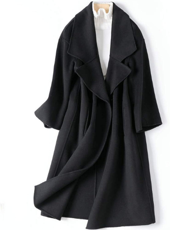 CG Women Notch Lapel Double Wool Blend Pea Coat Cardigan Coat Outwear Pockets Black 1688