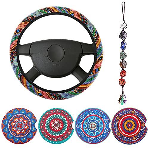 Frienda 6 Piece Mandala Car Accessories Set Include Absorbent Mandala Ceramic Car Coasters Boho...
