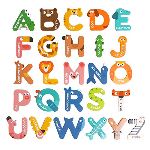 TSYAN Toys Magnets for Kids,Jumbo Magnetic Letters Animals Alphabet Toys,Fridge Magnets Stick Colorful Paper ABC Alphabet Learning Spelling Uppercase Toy for Boys Girls Toddlers Kids Ages 3+ Years Old
