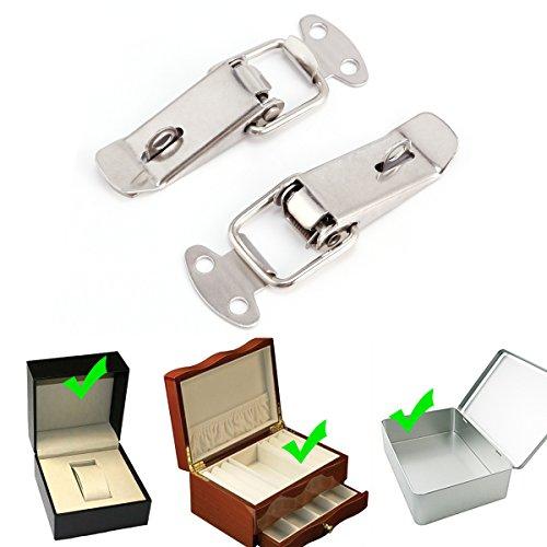Surepromise 2er Edelstahl Spannverschluss Kistenverschluss Hebelverschluss mit Schlossloch abschließbar für Case Box, Toolbox, Schublade, Schrank, Truhe