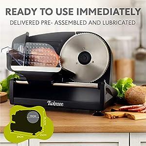 Elektrischer Allesschneider Edelstahl - Verstellbare Küchenmaschine 0 bis 15mm - 2 Klingen - Wurstschneidemaschine - Brotschneidemaschine, Schinkenschneider, Elektrisches Messer Fleisch & Käse