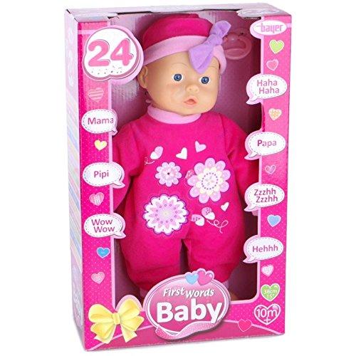 Bayer Design 9336300 Funktionspuppe First Words Baby mit 24 Lauten, 33 cm, pink
