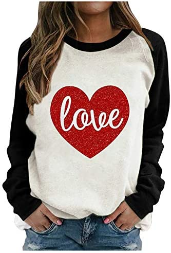 Women Love Heart Valentine Day T Shirt Glitter Heart Graphic Tops Tees Casual Raglan Long Sleeve product image