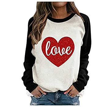 Youmymine Women Valentine Day T Shirt Cute Glitter Love Heart Graphic Printed Tees Shirts Long Sleeve Tops Blouse  Black M